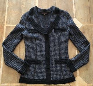 Veste chemisier plissée noir/gris T.S 36-38