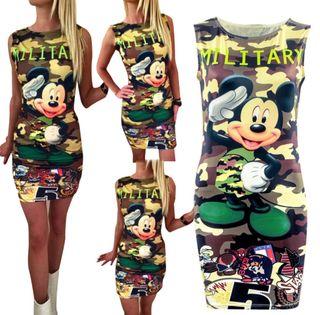 Vestido mujer Mickey militar