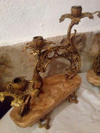 candelabros laton y marmol