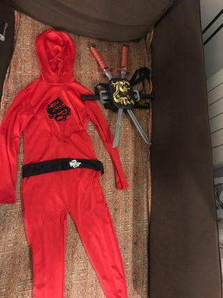 Disfraz Niño Ninja 6 años con traje y espadas