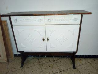 Conjunto recibidor y espejo vintage blanco