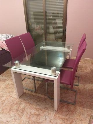 mesa cristal salon comedor mas sillas