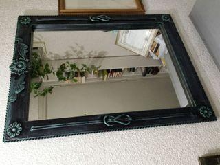 Espejo forja verde envejecido