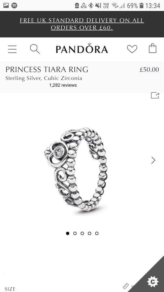 Pandora tiara ring size 48.