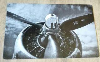 Cartel motor radial y hélice de avión