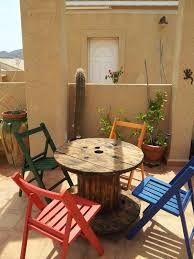 Bobinas de madera, decoración y jardín.