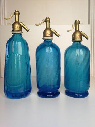 Lote 3 Sifones Franceses de color Azul Cristalino
