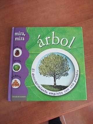 Libro infantil. ÁRBOL mira semilla, fruta, madera