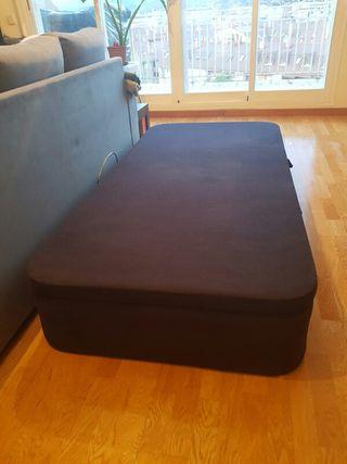 Canape negro de 90cm Cama madera terciopelo