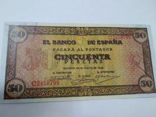 BILLETE 50 PESETAS 1938