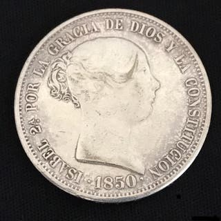 Reina Isabel II, 20 Reales 1850 C.L. - Plata