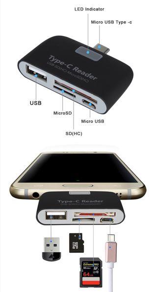 Adaptador USB Tipo C a USB+Lector SD TF Micro Sd