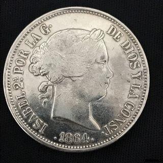 Reina Isabel II, 20 Reales 1864 - Madrid - Plata