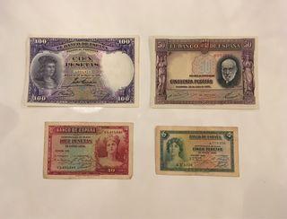 Billetes antiguos de España (4 unidades)
