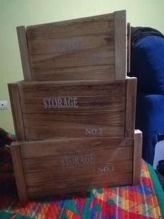3 Cajas de madera decoración