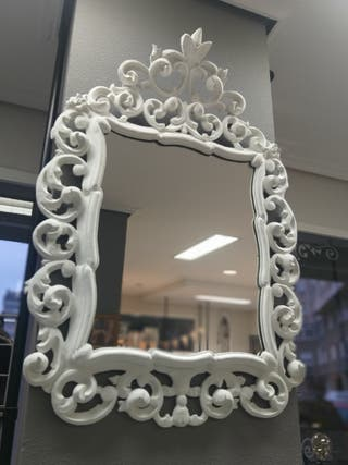 Espejo blanco barroco
