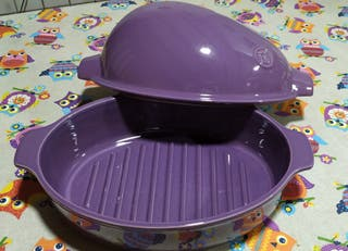 Horno ceramico para asar pollos.Emile Henry.Lila.
