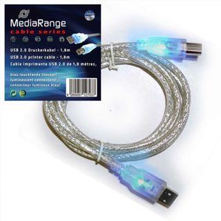 3CZ | Mediarange - cable impresora usb 2.0 con led
