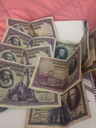lote billetes de 100 50 y 25 pts 1925 y 1928