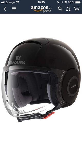 Shark casco jet Micro, Negro Lacado, talla S