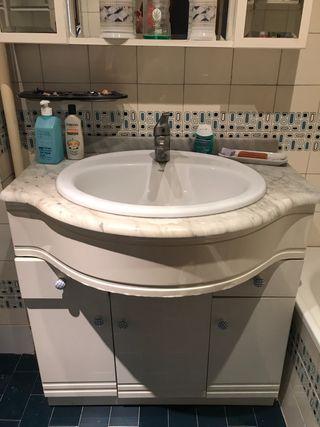 Lavabo con mueble y encimera de marmol