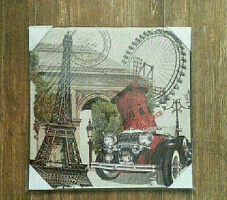 Cuadro de coche clásico en París.