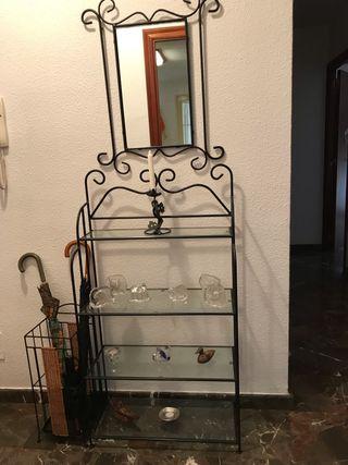 Mueble y espejo hierro forjado