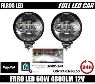 FAROS REDONDOS LED 4800LM 6500LM 12V