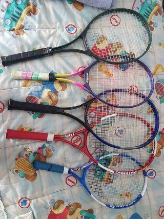 Conjunto 5 raquetas tenis y 2 fundas