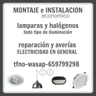 MONTAJE DE HALOGENOS Y LAMPARAS