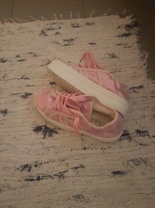 zapatillas rosas de plataforma talla 37