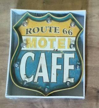 Escudo de garaje con luces. Motel Ruta 66.