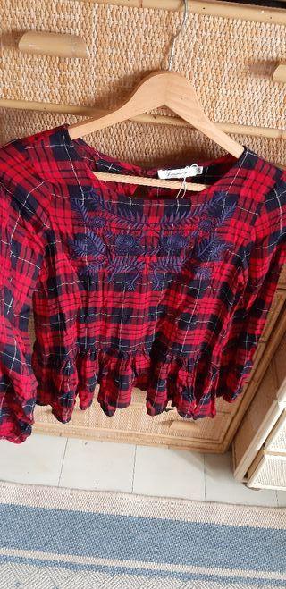 Blusa, camisa cuadros tartán escocés rojo 38
