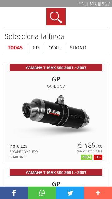 Escape homologado Mivv GP para Yamaha T-Max 04/07