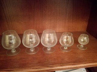 5 copas de cristal