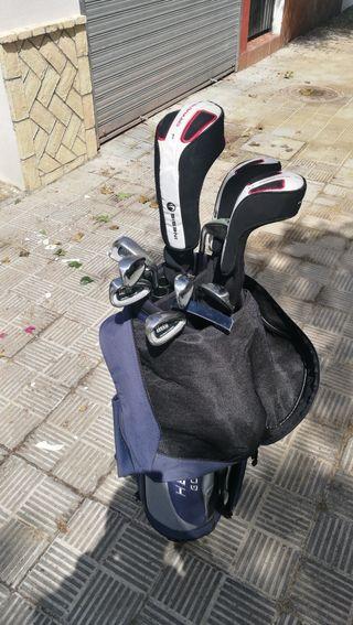 Palos de golf y bolsa