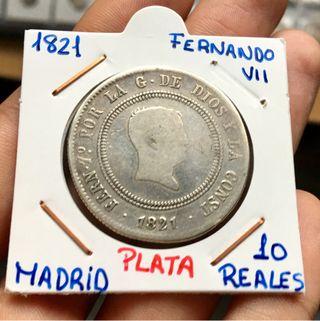 Moneda PLATA FERNANDO VII 10 Reales 1821 Madrid.