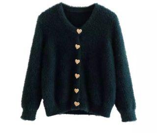 Nuevo Suéter-Chaqueta de punto con botones corazón