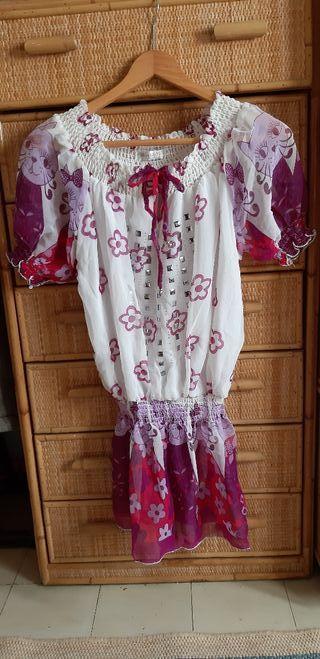 Camiseta, blusa flores y gatos M/L