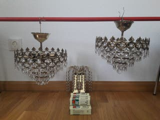 3 lámparas de cristal de roca