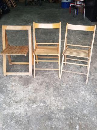 lote sillas de madera plegables