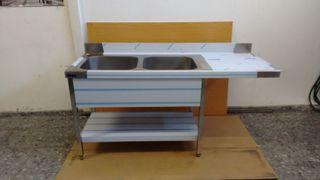 Fregadero Industrial + hueco 2 cubas lavavajillas