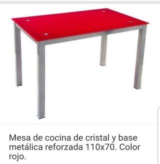 mesa cocina roja