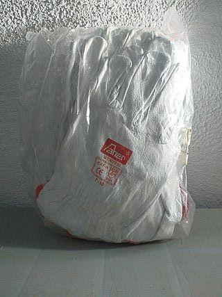 pack 12 pares guantes blanco de piel flor vacuno