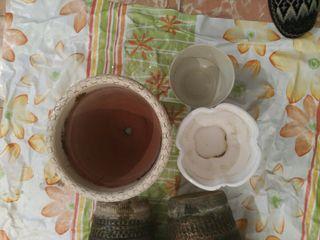 5 macetas de barro. x4€