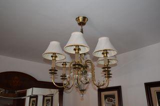 conjunto lámpara bronce y cristal