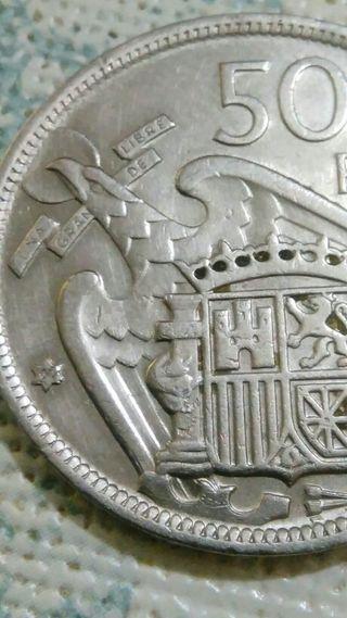moneda de 50 pesetas de 1957 estrella 00. error.