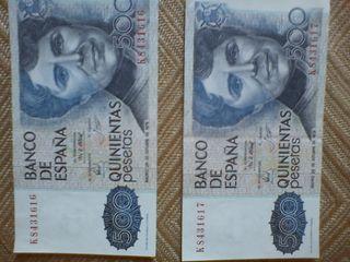 billetes 500 pesetas consecutivos y sin circular