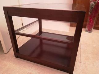 Mesa auxiliar madera y cristal