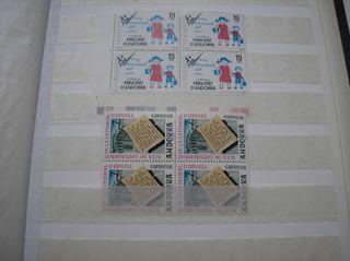 SELLOS 2 BLOQUES DE 4 ANDORRA 1975 Y 1979